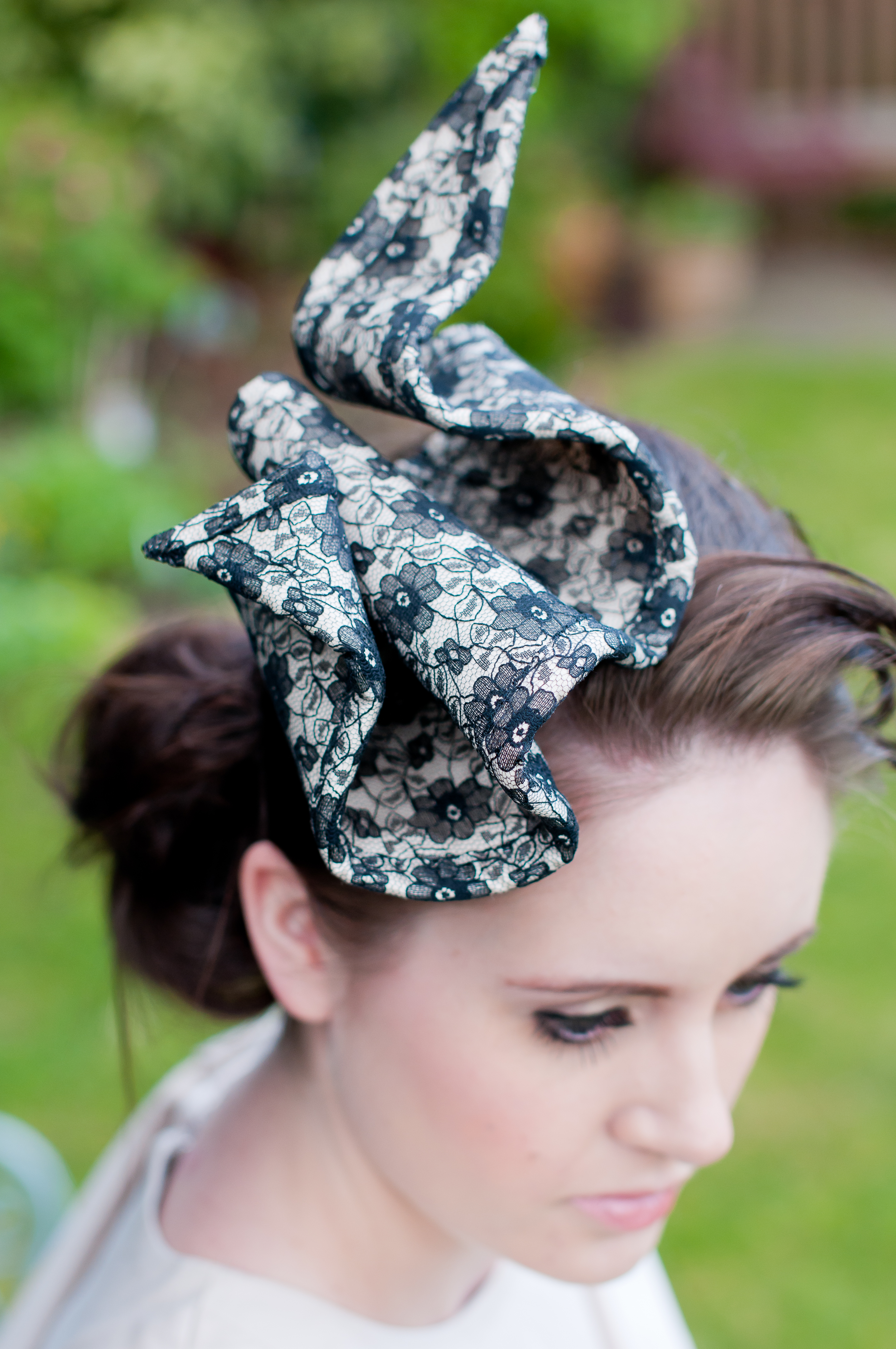 I wanted the delicate and traditional feel of the lace to be completely  opposite to the overall shape and design of the fascinator. 837808a8e50
