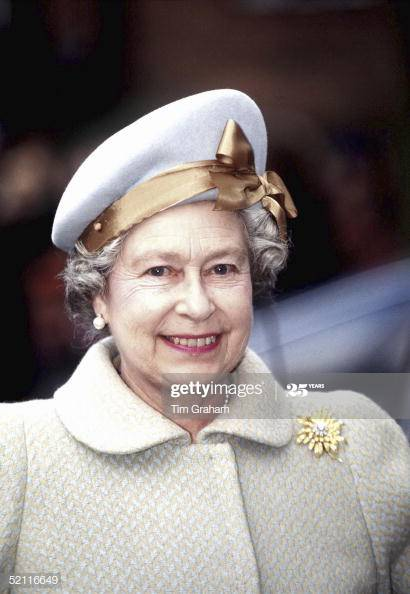 Queen Elizabeth wears a cream beret